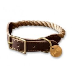 Olive - Found Rope & Reclaimed Leather Collar - Collars & Tags