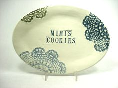 Mimi Cookies Platter MADE TO ORDER, Gift for Mimi, Lace Oval Serving Platter, Mimi Birthday, Mimi's Kitchen, Custom Platter