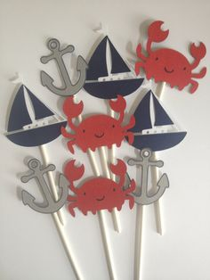 12 Nautical Themed Cupcake Toppers,Crabs,Sailboats,Anchors,Nautical First Bithday,Boy Baby Shower, Nautical Baby,Nautical Bridal Shower via Etsy