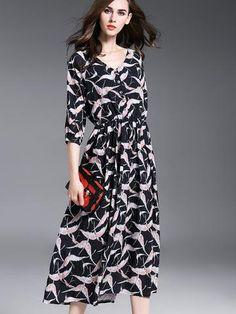 Beautiful V-Neck 3/4 Sleeve Print Brid Long Maxi Dresses