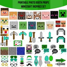 Minecraft Birthday Party, 6th Birthday Parties, Boy Birthday, Birthday Ideas, Minecraft Cake, Photobooth Props Printable, Game Themes, Party Themes, Halloween Games