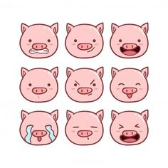 Pig Face Vectors, Photos and PSD files Dope Cartoon Art, Cute Cartoon Drawings, Easy Drawings, Funny Pigs, Cute Pigs, Kawaii Doodles, Cute Doodles, Emoticon, Pig Sketch
