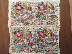 Antique Ottoman-turkish Silk & Gold Metallic Hand Embroidery On Linen N2