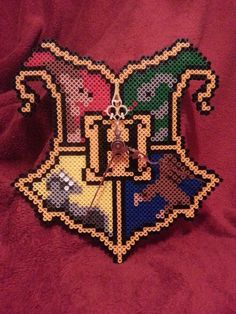 Harry Potter Hogwarts Crest Perler Bead Clock by AshMoonDesigns