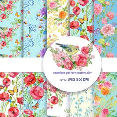 seamless patterns watercolor flowers digital paperwatercolor