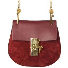 pre-owned authentic Chloé 'Drew Mini Bag Burgundy Suede