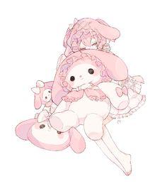 a sweet smile, a pretty melody Anime Chibi, Kawaii Anime, Kawaii Art, Anime Art, Kawaii Drawings, Cute Drawings, Cute Anime Character, Character Art, Aesthetic Art