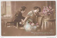 """Carte Postale Ancienne """"Déclaration d'amour"""" France."""