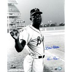 Hank Aaron Milwaukee Braves Uniform at Shea Stadium B&W 16x20 Photo Signed by Photographer Ken Regan