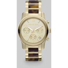 Michael Kors Tortoise-Print & Goldtone Chronograph Watch ($250) ❤ liked on Polyvore