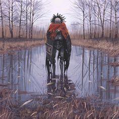 Vagabonds - Dead Fish  Simon Stålenhag  http://www.redbubble.com/people/simonstalenhag/works/14330977-vagabonds-dead-fish?p=photographic-print&size=x_large&finish=lustre