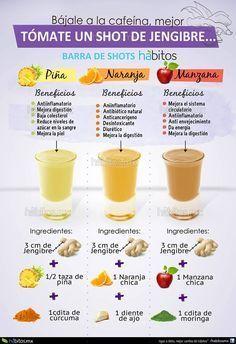 Jugos de piña, naranja y manzana con jengibre - Pineapple, orange and Apple juice with ginger