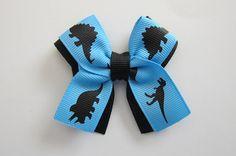 Dinosaur Hair Bow in Black on Blue