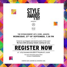 "We're excited to host our big and exclusive annual event of Style Awards 2017. --- Save the date: Wednesday September 27th 2017 7.30 PM The Establishment Jakarta --- We will present 12 awards for biggest personalities in beauty fashion and lifestyle industry. We also have 200 giveaway tickets for our lucky followers! Yes it's for you! --- Get the exclusive invitation by: Simply repost and capture this post and send it to styleawards2017@gmail.com with ""REGISTER ONLINE"" as the e-mail subject…"