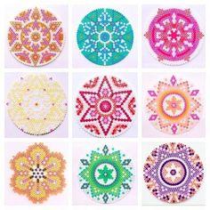 Mandalas hama perler beads by coriander_dk Hama Beads Coasters, Diy Perler Beads, Perler Bead Art, Pearler Beads, Fuse Beads, Perler Coasters, Diy Coasters, Melty Bead Patterns, Pearler Bead Patterns