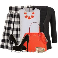Black and White With Orange Accessories