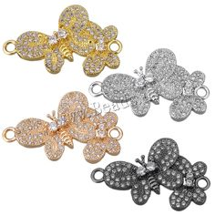 Cubic Zirconia Micro Pave Brass Connector Butterfly plated micro pave cubic zirconia & loop Hole:Approx Sold By Lot Semi Precious Beads, Lampwork Beads, Wholesale Jewelry, Gemstone Beads, Beaded Jewelry, Glass Beads, Plating, Butterfly, Brass