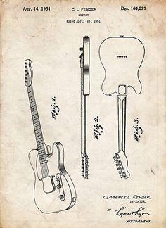 Fender Telecaster Guitar US Patent Art parchment