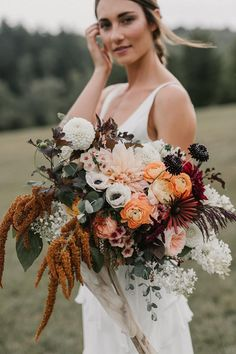 Forget the bouquet toss! You won't want to let go of these these beautiful fall wedding bouquets, let alone chuck one across the reception hall Vintage Bridal Bouquet, Fall Wedding Bouquets, Fall Wedding Flowers, Bridal Flowers, Floral Wedding, Bridal Bouquets, Boho Flowers, Vintage Wedding Flowers, Colourful Wedding Flowers