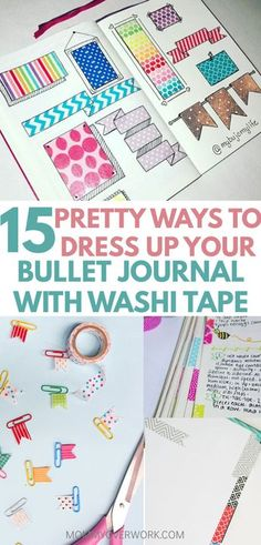 Washi tape is one of the greatest planner organization accessories ever! See these BULLET JOURNAL WASHI TAPE IDEAS that not only make your bujo look good, but be functional as well. Uses for washi tape everywhere of your notebook, from the cover to all its pages. DIY paper clip flags, make fun weekly spread layout, or keep it simple with some minimalist washi tape patterns. Be creative with these awesome tips! #bujojunkies #bujoaddicts #bujolove #washi