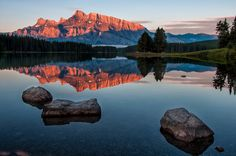 Two Jack Lake sunrise <3 <3 <3  Miss the mountains and the incredible views...Banff, Alberta
