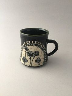 Hand Thrown Floral Pottery Poppy Mug