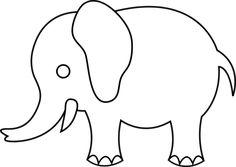 elephant graphic | Cute Elephant Line Art - Free Clip Art