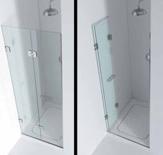 A shower door that folds up back against the wall - great for a small shower…