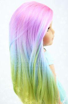 """Pretty Pastel"" Elegance Doll Wig for American Girl Dolls: Beautifully Custom Exclusive www.beautifullycustom.com (Pastel Rainbow Color Hair)"
