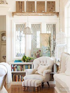 built in bookshelf under window