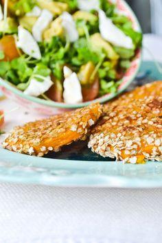 Milanesas de calabaza con quinoa.