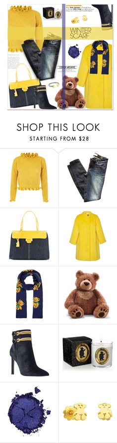 """""""Wrapper's Delight:Winter Scarf"""" by loveroses123 ❤ liked on Polyvore featuring Marc by Marc Jacobs, Myriam Schaefer, Lanvin, Gund, Nine West, Pat McGrath, TOUS, teddybear and winterscarf"""