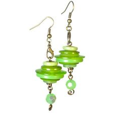 Button Dangle Earrings Upcycled Jewelry in Lime by BluKatDesign, $18.00