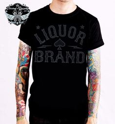 Liquor Brand T-Shirt Logo Grey.Tattoo, Biker, Oldschool, Rockabily, Custom Style