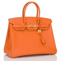 Hermes Orange H Epsom Birkin 35cm Gold Hardware | From a collection of rare vintage top handle bags at https://www.1stdibs.com/fashion/handbags-purses-bags/top-handle-bags/
