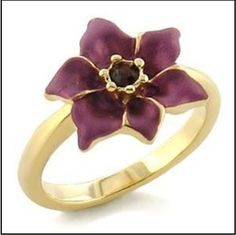 Gold Flower Ring Burgundy Purple Hibiscus Hawaiian Enamel Size 6 7  USA Seller #Cocktail