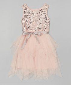 Zunie & Pinky Blush Tulle Sequin Dress - Girls | zulily