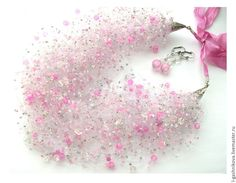 """Купить Комплект """"Ханами (Любование цветами)"""" """"воздушка"""" и серьги - оригинальное украшение, подарок девушке"""