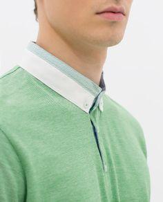 ZARA - HOMME - POLO PIQUÉ OXFORD Polo Rugby Shirt, Polo Shirts, Men's Polo, Celebrity Travel, Oxford, Good Looking Men, Men's Collection, Mens Tees, Collars