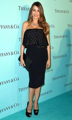 Sofia Vergara in a strapless polka dot dress