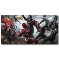Showing off the epic climax of Captain America: Civil War, this poster features: Captain America, Iron Man, Ant-Man, Black Widow, Winter Soldier, Falcon, War Machine, Hawkeye, Black Panther, Vision,  and Scarlett Witch. Available in multiple sizes, this poster is printed on high-quality silk fabric.  Silk fabric posters have less glare than paper, which makes images and artwork on the poster easier to see and easier to hang lights nearby to prevent glare.