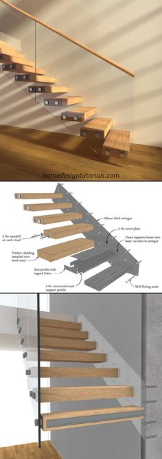 Staircases are a lot of fun. That is, even though the design process is strictly regulated by the building code, it can be the perfect opportunity to flex your creative muscles. But how exactly do you design a cantilevered staircase? How do the stairs stay in place? And what do you need to take into consideration during the design phase? #design #construction #architecture #floating #stairs #staircase #fixing #detail #cantilevered #drawing Steel Stairs, Wood Stairs, House Stairs, Cantilever Stairs, Stair Handrail, Timber Stair, Timber Cladding, Home Stairs Design, Railing Design