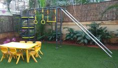 A a and a come together to form one play structure at the backyard of this house. Outdoor Fitness Equipment, No Equipment Workout, Climbing Wall, Rock Climbing, Children's Playground Equipment, Ropes Course, Outdoor Workouts, Walls, Backyard