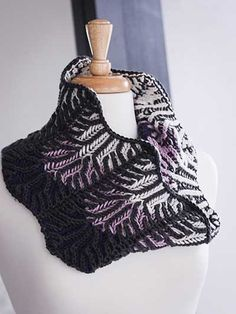 Lilac Vines Cowl Knit Pattern I LOVE this cowl  brioche with vanilla, lavender, indigo, and charcoal