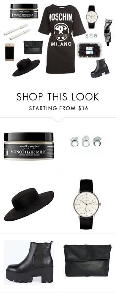 """on wednesdays we wear black (and moschino!!)"" by xsaturnox ❤ liked on Polyvore featuring Earth's Nectar, Aesop, VIVETTA, Junghans, Boohoo, Monki and Moschino"