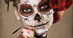 Mexican Sugar Skull Halloween Makeup.
