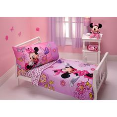 Disney Minnie Mouse Flower Garden Toddler Bedding Set and Sheets Set - Value Bundle, Pink Disney Themed Bedrooms, Bedroom Themes, Girls Bedroom, Bedroom Sets, Toddler Rooms, Toddler Bed, Minnie Mouse Bedding, Mickey Mouse, Disney Mickey