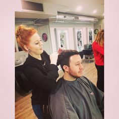 Bryony ,finalist in women in business  apprentice of the year 2015 gets creative with Rory's hair.