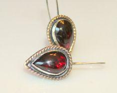 garnet earrings - january birthstone earrings - silver and gold garnet earrings - natural garnet drop earrings - garnet teardrop earrings