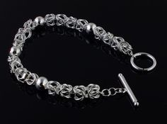 "Beautiful.925 Sterling Silver 8"" Links and Beads Bangle Bracelet FREE SHIPPING #Bangle"